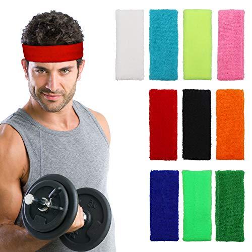 Kurtzy Stirnband (10 Stück) - 13cm Elastische Dehnbare Stirnbänder für Herren, Damen und Kinder - Schweißbändern zum Fahrrad Fahren, Gymnastik, Yoga, Sport und Athletik - Farbe Schweissband