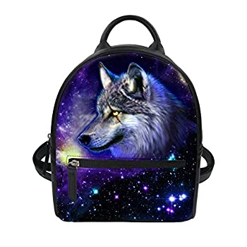 Showudesigns Leather Daypack Mini Backpack for Girls Teens Cool Wolf Galaxy Pattern
