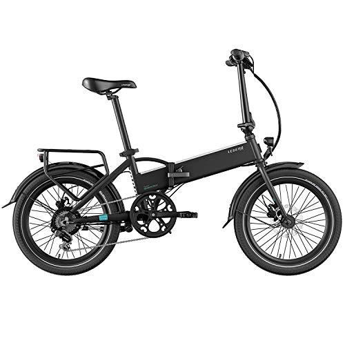 Legend Monza Vélo Électrique Pliant Smart eBike Roues de 20 Pouces, Freins Disque Hydraulique, Batterie 36V 14Ah Panasonic (504Wh), Noir Onyx