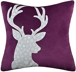 JWH Christmas Accent Pillow Case Linen Deer Head Applique Decorative Cushion Cover Handmade Pillowcase Home Sofa Car Bed Living Room Decor Gift 18 x 18 Inch Purple