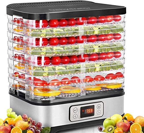 COOCHEER Dörrautomat Dehydrator Dörrapparat mit Temperaturregelung, 8 Etagen abnehmbare Dörrgerät, Temperaturregelung 35-70℃ für Fleisch, Fleisch, Früchte, Gemüse und Nüsse, 400W, BPA-frei