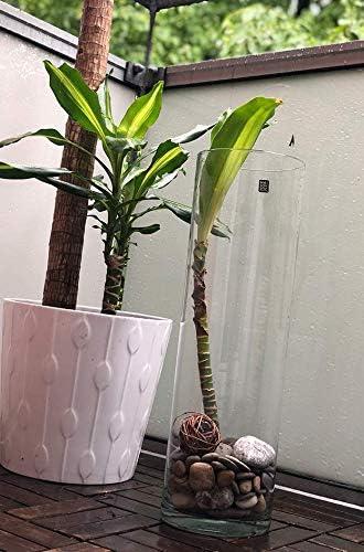 Deco /& Boda Maison Zoe Jarr/ón de Cristal soplado y Hecho a Mano 2 x Cilindro de 10 cm de di/ámetro 15 cm de Altura