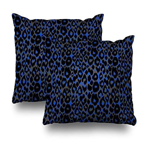 GFGKKGJFD Juego de 2 fundas de cojín abstractas con diseño de animales con manchas azules oscuras, 18 x 18, para sofá, adolescentes, niñas, regalos