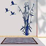 Simple hoja de bambú ganso salvaje animal silueta de dibujos animados tatuajes de pared árbol natural decoración de flores hogar sala de estar decoración película sala de niños club yoga 80x114 cm