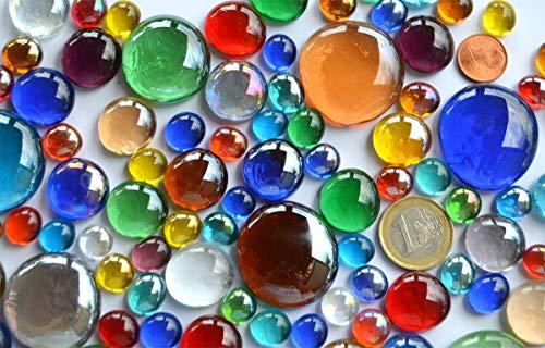 Bazare Masud e.K. 290 Gramm Bunte Glasnuggets in 3 versch. Größen ca. 1-3 cm transparent teilweise irisierend Muggelsteine ca. 87 St.