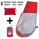 BOLTX Camping Schlafsack inkl. aufblasbarem Kopfkissen | 1300g leichter Outdoor Deckenschlafsack,...