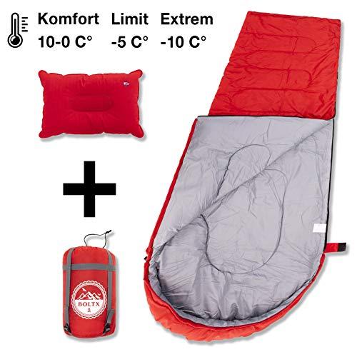 BOLTX Schlafsack Camping | 3-4 Jahreszeiten 1300g leicht Outdoor Indoor Sommer-Winter Schlafsack Deckenschlafsack, Komfort 0-10 Grad, Erwachsene Kinder Schlafsack, 210x75 cm, kleines Kopfkissen inkl.