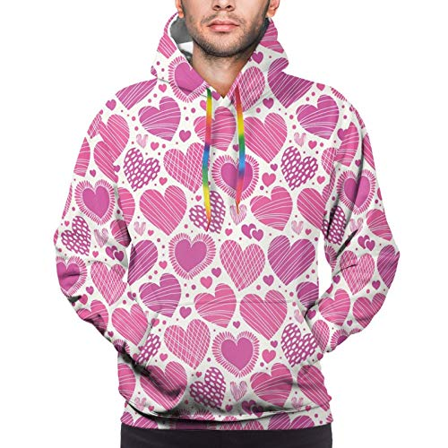 Men's Hoodies Sweatshirts,Romantic Heart Shapes with Different Designs Polka Dots Crossed Lines Love,X-Large