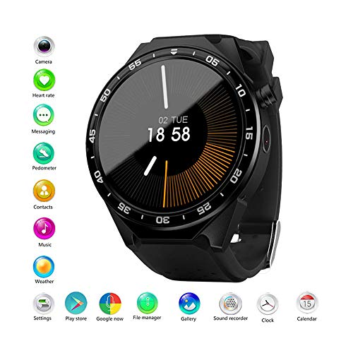 ANDE Smartwatch Polshorloge Waterbestendig, Android Wear 2.0, Google Assistant, Sporthorloge, GPS, Hartslagmonitor, Smart Watches zijn compatibel