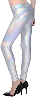 Women's Hologram Flashbulb Metallic Rainbow Leggings Shiny Neon Tights Liquid High Waist Club Disco Yoga Pants