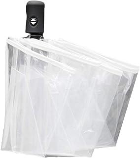 healthwen Paraguas compacto totalmente automático Tres paraguas transparentes plegables a prueba de viento mujeres hombres...