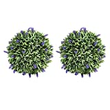 DOITOOL 2pcs Artificial Topiary Lavender Ball Fake Plant Topiary Ball Lavender Decorative Hanging Balls Round Ornaments Balls for Courtyard Garden Gate Balcony Wedding and Home Decoration 20cm