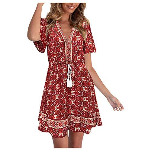 Xmiral Sommerkleid für Frauen Ethnischer Stil A-Linien Kleid mit Hoher Taille Blumendruck Strandkleid mit V-Ausschnitt(Rot,XXL)