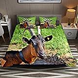 N\O Billy Goat Horns - Juego de ropa de cama transpirable (3 piezas, funda de edredón y 2 fundas de almohada), microfibra ultrasuave (no incluye edredón)