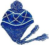 Mujeres Invierno Plaid Sombreros de Punto Orejeras Pasamontañas Sombrero de pompón Forro cálido Gorros Cap Bonnet
