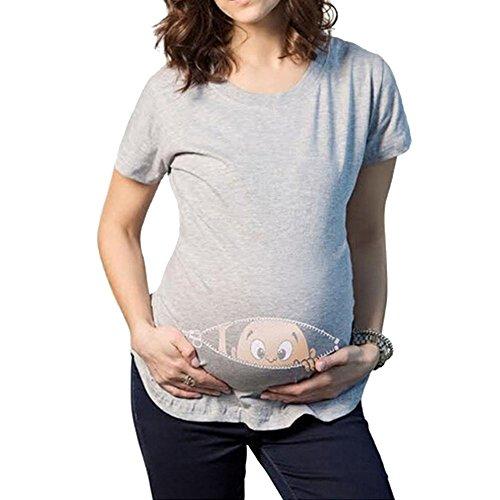 Q.KIM Premaman Divertenti Baby Magliette Premaman Stampa Divertente Tops T-shirt Gravidanza Donna I'm coming ,Grigio L