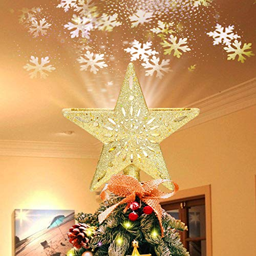 Ryhpez Christmas Tree Topper, Gold Star Christmas Tree Topper with LED Rotating Snowflake Projector Lights, 3D Glitter Lighted for Christmas Tree Decorations Holiday Party