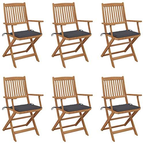 vidaXL 6X Madera Maciza Acacia Sillas de Jardín Plegables y Cojines Sillón Terraza Exterior Balcón Patio Asiento Butaca Muebles Mobiliario Duradera