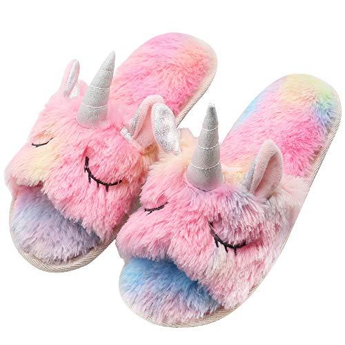 Girls Family Unicorn Slippers Cute Fluffy Anti-Slip Indoor Home Slippers Household Winter Warm...