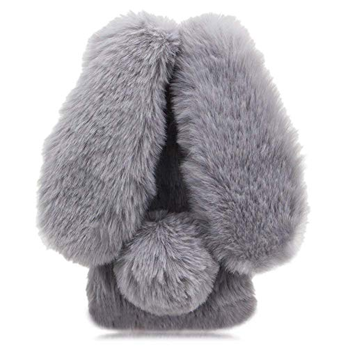 Awenroy Hase Pelz Handyhülle für Wiko View 2 Go [ 3D Flauschiges Kaninchen ] Weicher & bequemer Plüschbezug Spaß Luxus & schön Stoßfeste Hülle für Wiko View 2 Go - Grau