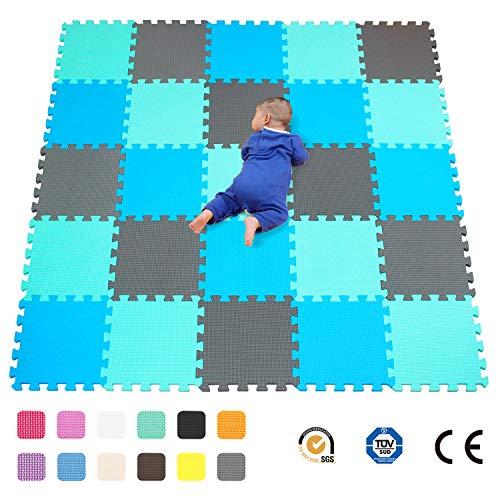 qqpp 25 Puzzle Bodenschutzmatte - Schutzmatte Set Puzzlematte Bodenschutz Rutschfest Matte | Fitnessmatte Turnmatte Sportmatte Trainingsmatte Yogamatte | Spielteppich Baby | Sport Fitness. QQC-GHLb25N