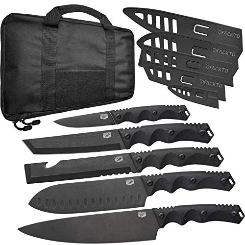 DFACKTO - 11 Piece Premium Rugged Chefs Knife Set with Sheaths and Case for Kitchen and Camping, Stonewashed High Carbon Stainless Steel Knives in Travel Kit, G10, Black Cooking BBQ Utensils