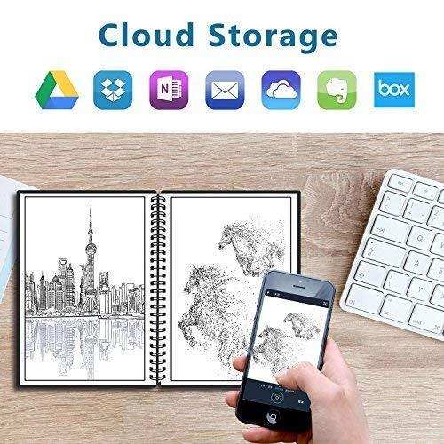 Cuaderno Inteligente Reutilizable - NEWYES Libreta de A5 con Bolígrafo Borrable Usar Agua y Calor Para Limpiar Usa Aplicación Subirlas Notas a la Nube Everlast Notebook