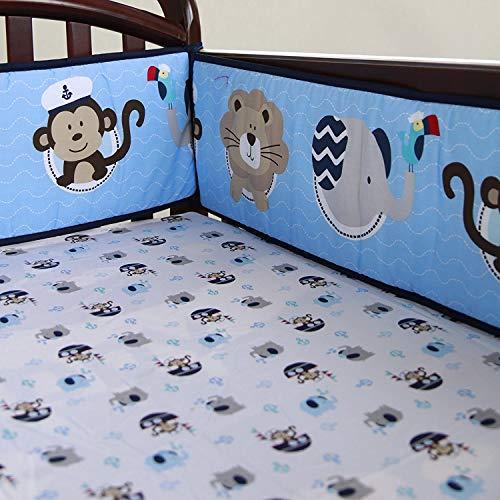 TEALP Babybett Stoßstange Kinderbett 4 Stück 100% Baumwolle Wrap Around Schutz Safe Crib Stoßstange-Segel 405cm x 25cm