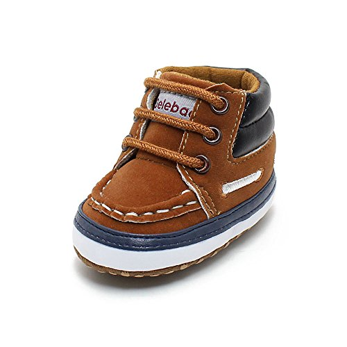 Delebao Infant Toddler Baby Lace Up Soft Sole High-top Suede Warm Sneakers Snow Boots (12-18 Months, Brown)