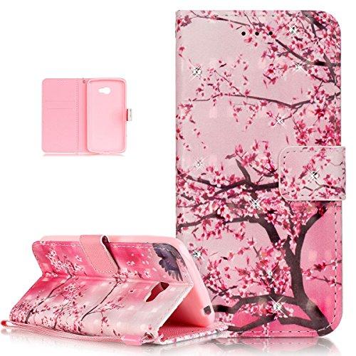 Cover LG K5,ikasus Brillanti Strass Diamante Pittura colorata farfalla fiori dipinti PU pelle Case Cover Custodia Flip Wallet Supporto Custodia Cover per LG K5 Custodia,Fiore di rosa prugna