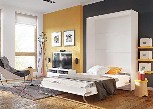 Schrankbett CONCEPT PRO Wandklappbett – Vertikal (90×200 cm, weiß matt) - 2