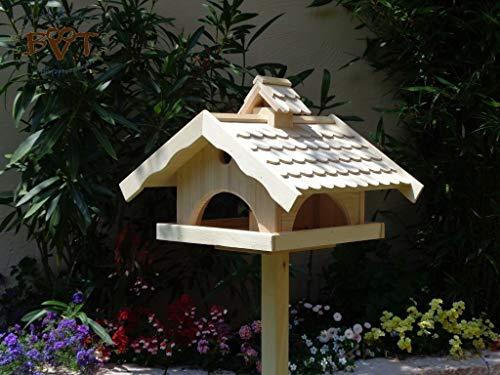 Vogelhaus, groß, BEL-X-VONI5-LOTUS-LEFA-natur002 Großes wetterfestes PREMIUM Vogelhaus mit wasserabweisender LOTUS-BESCHICHTUNG VOGELFUTTERHAUS + Nistkasten 100% KOMBI MIT NISTHILFE für Vögel WETTERFEST, QUALITÄTS-SCHREINERARBEIT-aus 100% Vollholz, Holz Futterhaus für Vögel, MIT FUTTERSCHACHT Futtervorrat, Vogelfutter-Station Farbe natur, MIT TIEFEM WETTERSCHUTZ-DACH für trockenes Futter
