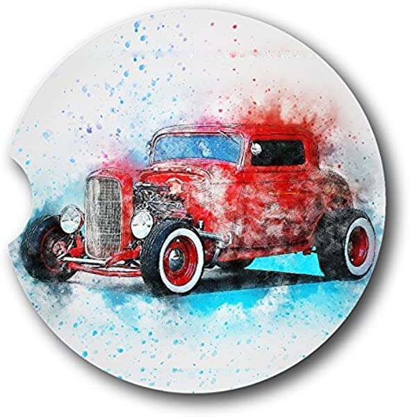 Red Hot Rod Sandstone Car Coasters Set Of 2