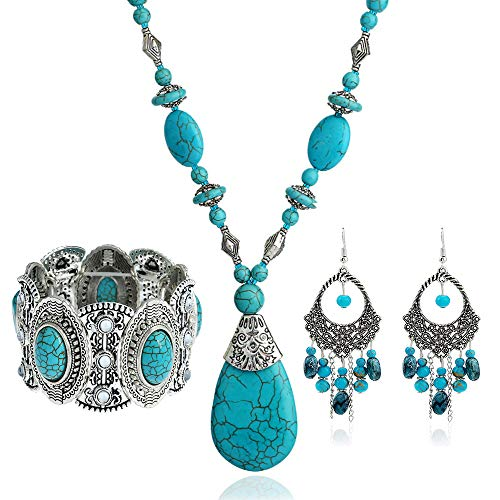 Turquoise 3pcs Set - a Turquoise Necklace a pair of turquoise pendant tassel earrings, a stretchable turquoise braceleta Gift for Ladies