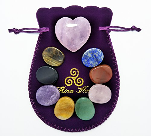 Heart Shaped Rose Quartz Crystal and Oval Shaped Chakra Stones Bundle, for Chakras Balancing, Crystal Healing, Worry Stones, Palm Stones, Massages