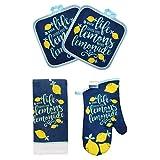 WLS 4 Piece Blue Yellow Kitchen Decor Lemon Set, When Life Gives You Lemons Make...