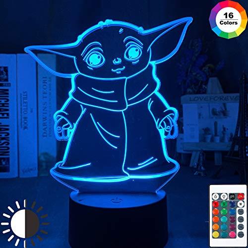 LvJin Baby Yoda Meme Figur 3D-LED-Nachtlicht,H-Holzmaserung 16Color Touch Fernbedienung Acrylglas&80CM USB-Stromversorgung,kleine Tischlampe,dekorative Lichter