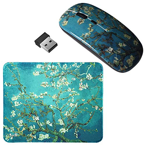 LIZIMANDU Gaming Mouse and Mouse Pad Set,Wireless Computer Mouse | Mouse Pad for Home, Office(L2-Peach Blossom)