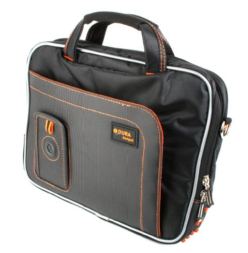DURAGADGET Black and Orange Portable DVD Player Shoulder Bag - Compatible with RCA DRC99310U 10-Inch Portable DVD Players