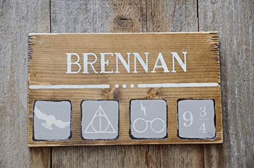 Harry Potter Personalized Name Wood Sign Symbols, The Elder Wand, The Resurrection Stone, The Cloak of Invisibility, Owl and Letter, Glasses and Lightening Bolt, Platform 9 3/4