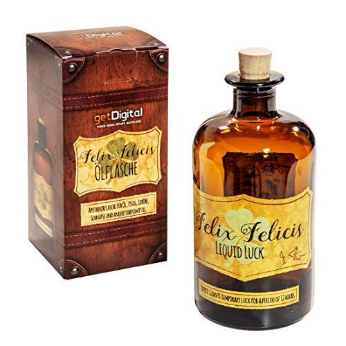 getDigital Felix Felicis Zaubertrank Flasche - Magische Apothekerflasche mit Korken-Verschluss für Öl Essig oder Spirituosen - 500 ml Leer Braunglas