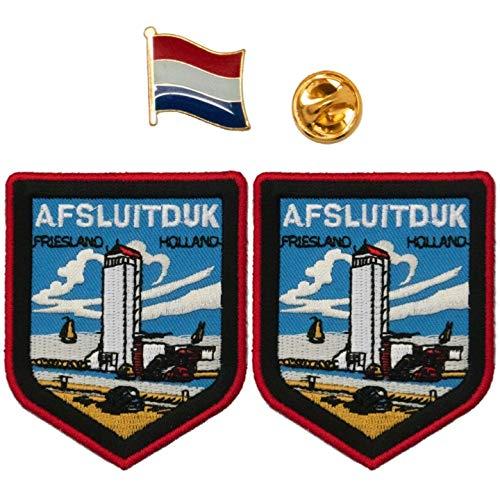 A-ONE 2 + 1 Stück Packung – Die Niederlande Friesland Afsluitduk Aufnäher 2 Stück + Holland-Flagge Abzeichen, Afsluitduk Schild Aufnäher, Emblem Pin
