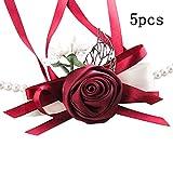 DaoRier 5 pièces Bracelet de Mariage Fleur de Poignet pour Mariée Demoiselle d'honneur (Vin Rouge)