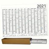 A1 Plakatkalender 2021 Parva Posterkalender 84 x 59 cm großer Wandkalender mit Ferienübersicht Sonn- und Feiertage in Blau gerollt geliefert!