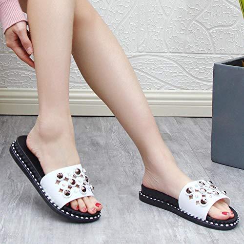 MMWW Unisex Adulto Zapatillas de baño,Zapatillas de tacón de Pendiente de Moda para Mujer, Sandalias de Plataforma con Plataforma de Uso Exterior-Blanco_39,Zapatillas cómodas portátiles