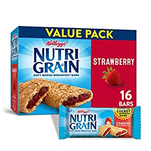 Kellogg's Nutri-Grain Soft Baked Strawberry Breakfast Bars - School Lunchbox Snacks, Individual Wrapped Bars (16 Count)