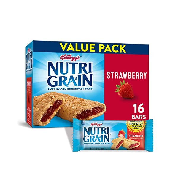 Kellogg's Nutri-Grain Soft Baked Strawberry Breakfast Bars – School Lunchbox Snacks, Individual Wrapped Bars (16 Count)