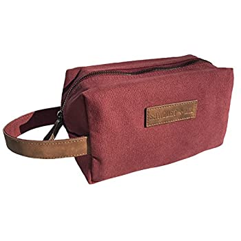 Canvas Travel Toiletry Organizer Shaving Dopp Kit by Sawdust + Oil 9-inch Cosmetic Makeup Bag Shaving Kit Dopp Bag for Men or Women Travel Kit Weekender Tote Groomsmen Gift Fathers Day  Maroon Red