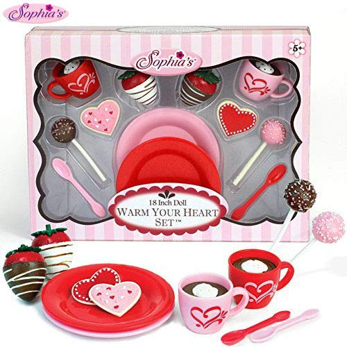 Sophia's 18 Inch Warm Your Heart Doll Accessories Food Play Set Perfect for The American Baking Girl! Includes Hot Cocoa, Cake Pops, Cookies & More! Mini Doll Food , Red, Pink