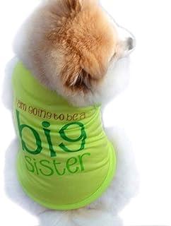 Disfraz - escritura - Voy a ser una hermana mayor - Estoy a punto de convertirme en una hermana mayor - color verde - perro - xs - disfraces - carnaval de halloween - i'm going to be a big sister